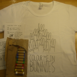 Colour me in Bunnies t-shirt